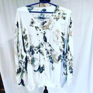DG2 white floral cardigan sweater 3X EUC